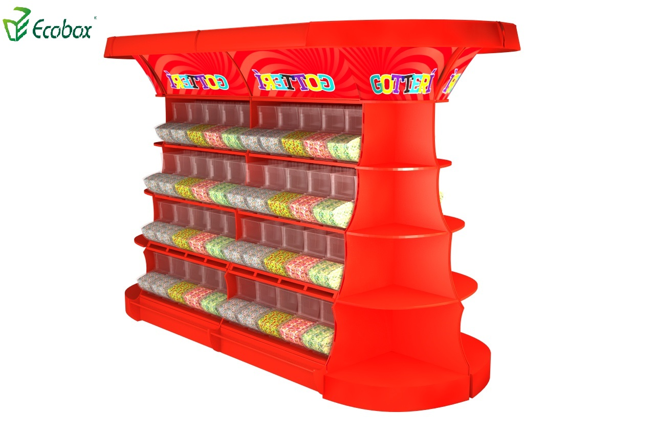 Ecobox TG-061 series corner candy display shelf rack
